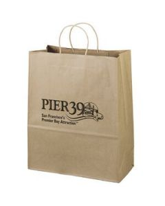 Promotional Paper Bags Custom Imprinted W Logo Blue Soda Promo