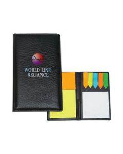 Leather Look Padfolio With Sticky Notes  Flags