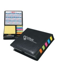 Square Leather Look Case Of Sticky Notes With Calendar  Pen