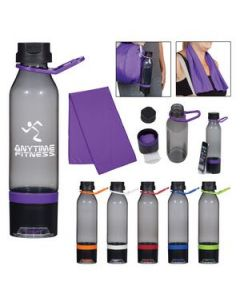 22 Oz Energy Sports Bottle With Phone Holder and Cooling Towel
