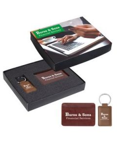 RFID Card Holder And Leatherette Key Tag Gift Set