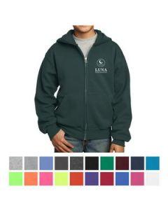 Port  Company Youth Core Fleece FullZip Hooded Sweatshirt