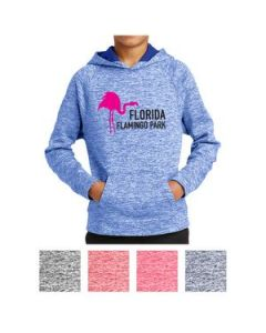 SportTek Youth PosiCharge Electric Heather Fleece Hooded Pullover