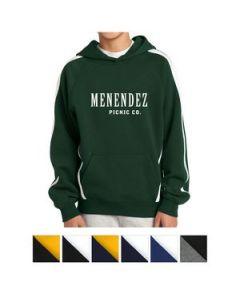 SportTek Youth Sleeve Stripe Pullover Hooded Sweatshirt