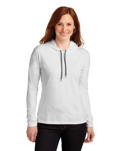 Anvil Ladiesapos 100 Ringspun Cotton Long Sleeve Hooded TShirt