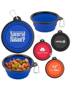 Collapsible Silicone Pet Bowl w Carabineer