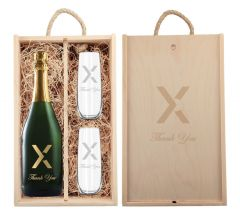 Rustic Laser Engraved Wood Box with Custom Etched Champagne and Flutes with 1 Color Fill