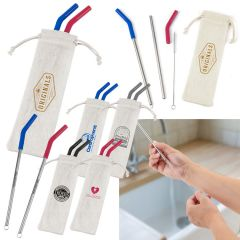 Reusable Stainless Steel Two Straw Set