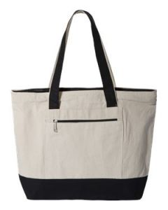 QTees 19L Canvas Zippered Tote Bag